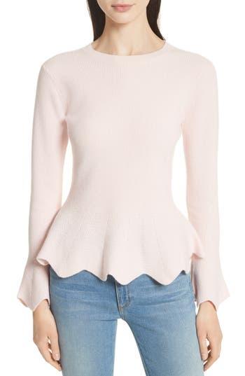 Women's Ted Baker London Peplum Sweater, Size 4 - Pink
