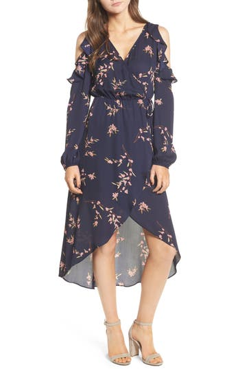 Women's Soprano Ruffle Cold Shoulder Faux Wrap Dress, Size X-Small - Blue