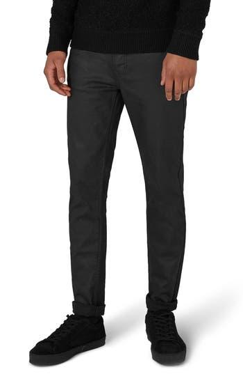 Topman Matte Coat Skinny Fit Jeans, Black