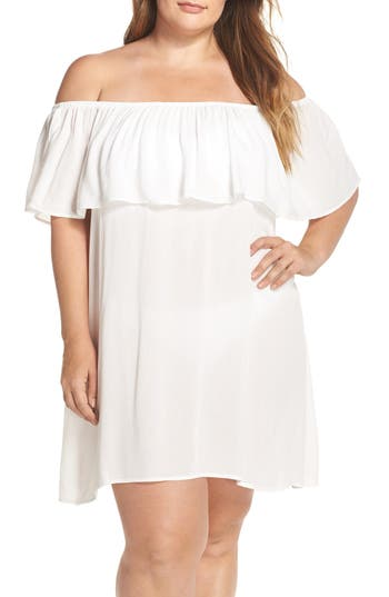 Plus Size Becca Etc. Southern Belle Off The Shoulder Cover-Up Dress, White