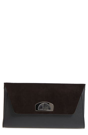 Christian Louboutin Vero Dodat Velour Suede & Leather Clutch - Black at NORDSTROM.com