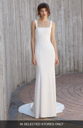 Nouvelle Amsale Crosby Embroidered Gown, Ivory