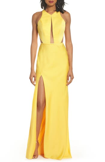 Women's La Femme Cutout Detail Satin Gown, Size 10 - Yellow