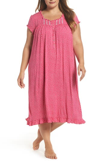 Plus Size Women's Eileen West Modal Jersey Nightgown, Size 1X - Pink