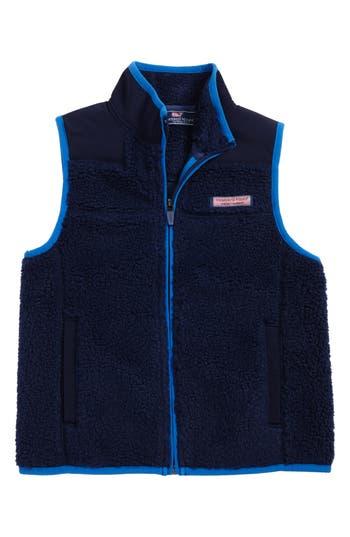 Boy's Vineyard Vines Fleece Zip Vest, Size 5 - Blue
