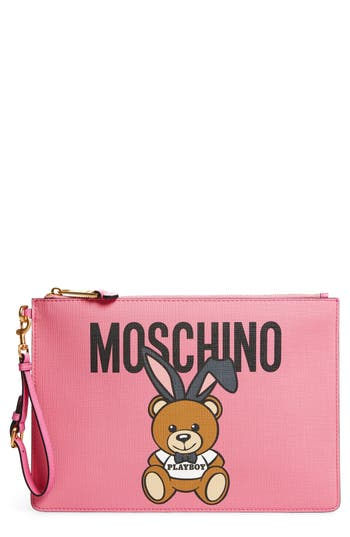 Moschino X Playboy Bunny Bear Leather Pouch - Pink