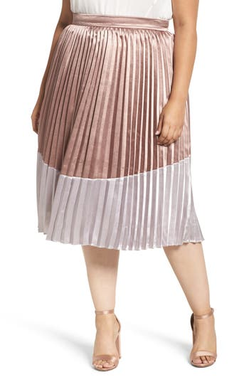 Plus Size Women's Lost Ink Pleat Metallic Skirt, Size 0X - Metallic