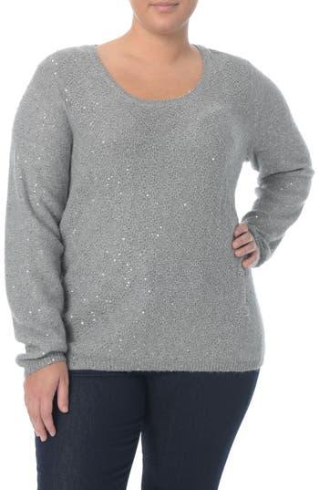 Plus Size Women's Nydj Sequin Scoop Neck Sweater, Size 0X - Grey