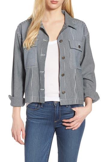 Women's Splendid Stripe Crop Jacket, Size X-Large - Blue