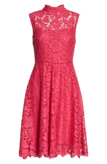 Women's Valentino Tie Neck Guipure Lace Dress, Size 10 - Pink