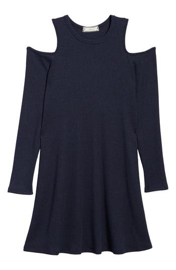 Girl's Soprano Cold Shoulder Knit Dress, Size S (8-10) - Blue