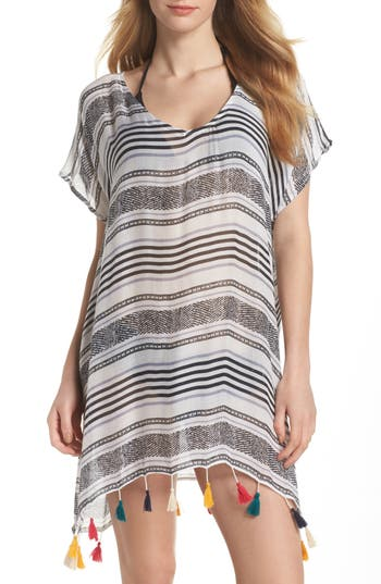 Women's Surf Gypsy Stripe Tassel Cover-Up Tunic, Size Small - Grey