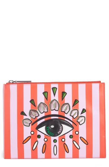 Kenzo Cory Embroidered Eye Leather Pouch - Red