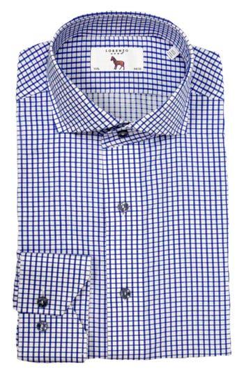 Men's Lorenzo Uomo Trim Fit Check Dress Shirt, Size 15.5 - 32 - Blue
