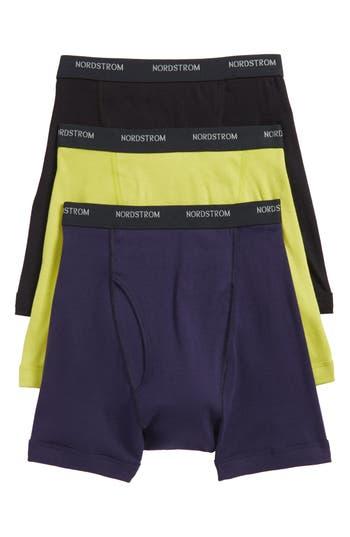 Men's Nordstrom Men's Shop 3-Pack Supima Cotton Boxer Briefs, Size Medium - Green