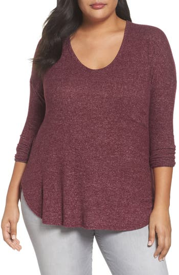 Women's Soprano High/low Knit Top, Size 1X - Burgundy