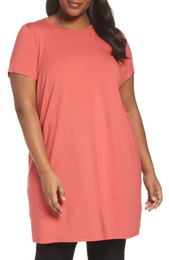 Plus Size Eileen Fisher Jersey Shift Dress, Pink