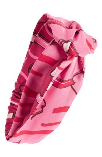 Valentino Garavani Lipstick Waves Silk Headband, Size One Size - Red