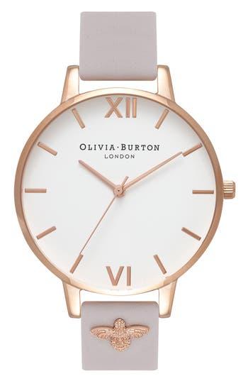 Women's Olivia Burton 3D Bee Leather Strap Watch, 38Mm