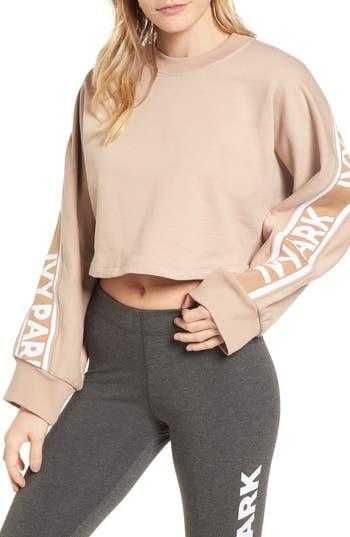 Ivy Park Logo Tape Crop Sweatshirt, Beige
