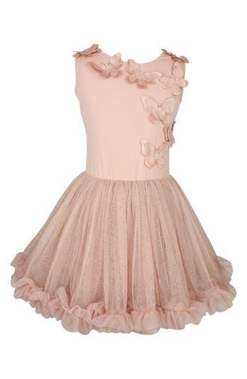 Girl's Popatu Butterfly Dress, Size M (5-6) - Pink