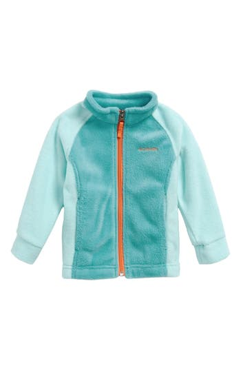 Infant Girl's Columbia Benton Springs Fleece Jacket, Size 3-6M - Blue/green