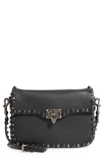 Valentino Garavani Rockstud Leather Shoulder Bag - Black