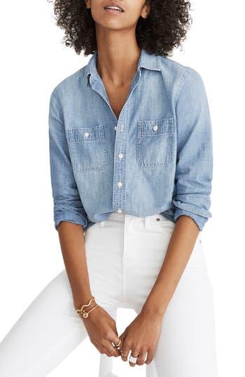 Womens Madewell Classic ExBoyfriend Chambray Shirt Size XXSmall  Blue