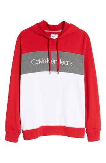 Calvin Klein Jeans Colorblock Hoodie, Red