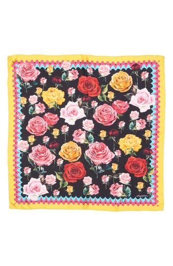 Women's Dolce & gabbana Rose Print Silk Scarf, Size One Size - Black