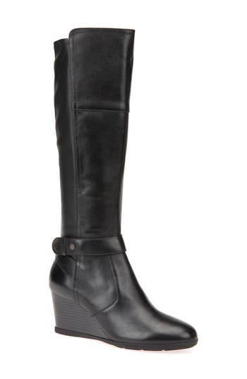 Geox Inspiration Knee High Wedge Boot - Black
