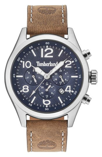Timberland Ashmont Multifunction Leather Strap Watch, 46Mm