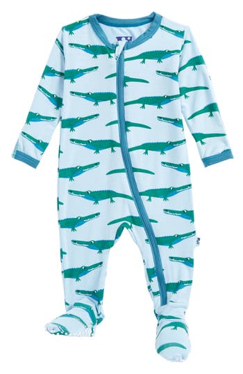 Infant Boy's Kickee Pants Print Footie, Size 0-3M - Blue