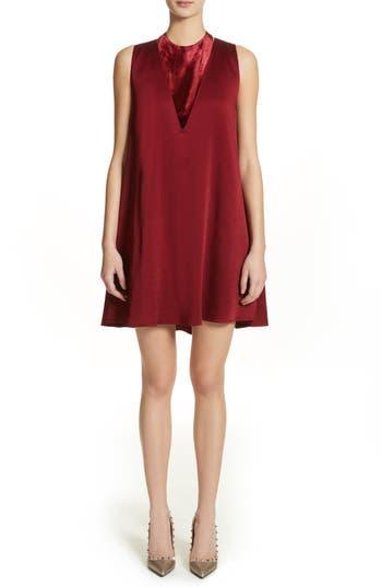 Valentino Hammered Satin & Velvet Swing Dress, Red