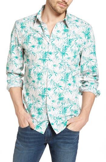 Big & Tall 1901 Trim Fit Palm Print Sport Shirt, Pink