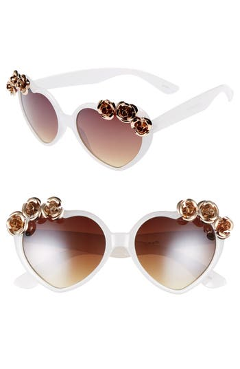 Women's Leith 58Mm Rosette Heart Sunglasses - White/ Brown