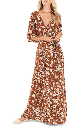 Women's Faithfull The Brand Bergamo Floral Wrap Maxi Dress, Size X-Small - Yellow