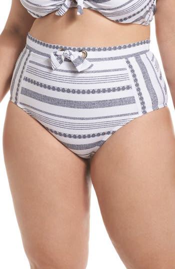 Plus Size Tommy Bahama Sand Bar High Waist Bikini Bottoms, White