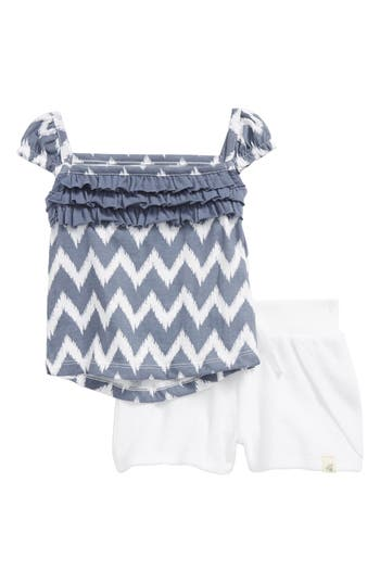 Infant Girls Burts Bees Baby Cap Sleeve Tee  Terry Shorts Set