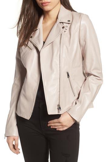 Women's Lamarque Asymmetrical Zip Leather Biker Jacket, Size Small - Pink