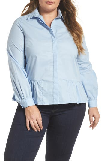 plus size women's lost ink peplum hem shirt