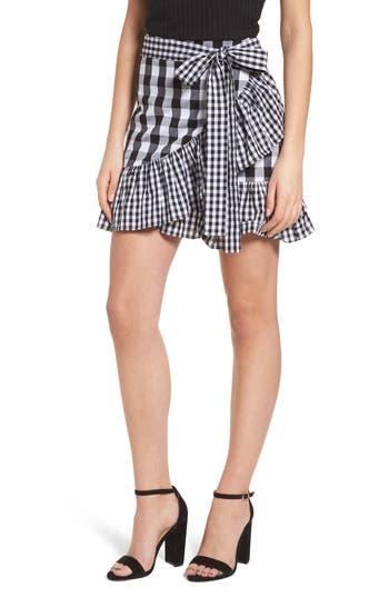 Bp. Mixed Check Ruffle Trim Skirt, Black