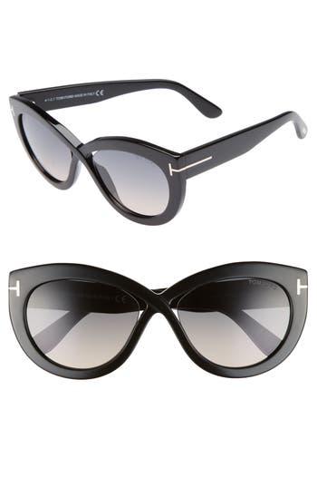 Tom Ford Diane 5m Butterfly Sunglasses - Black/ Gradient Smoke