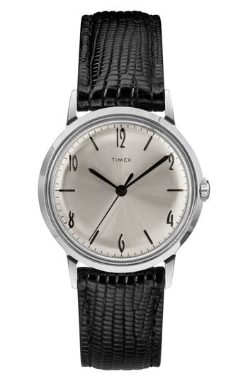 Timex® Marlin Leather Strap Watch, 34mm