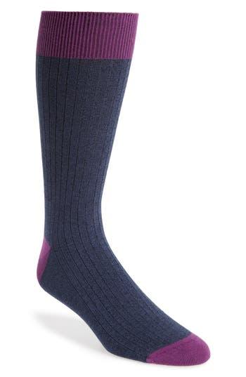 Men's Ted Baker London Polbray Ribbed Socks, Size One Size - Blue