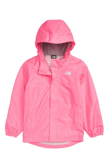 Girls The North Face Tailout Hooded Rain Jacket Size 6  Pink