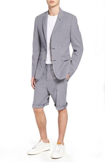 men's french connection slim fit stretch seersucker sport coat, size large - blue