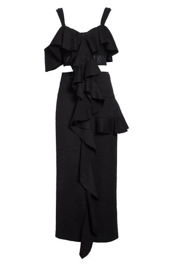 Women's Proenza Schouler Ruffle Midi Dress, Size 8 - Black
