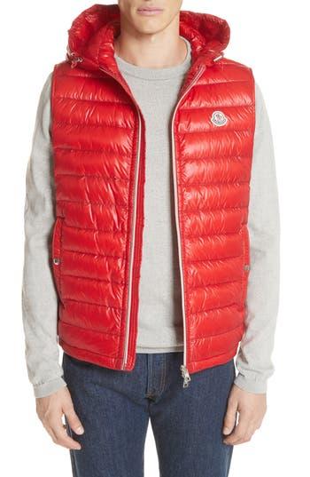 Moncler Gien Down Hooded Vest, Red