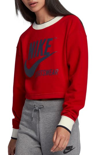 Nike Reversible Crop Sweatshirt, Red